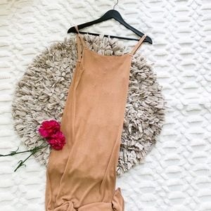 NWT Zara Nude Knit Bodycon Maxi Dress